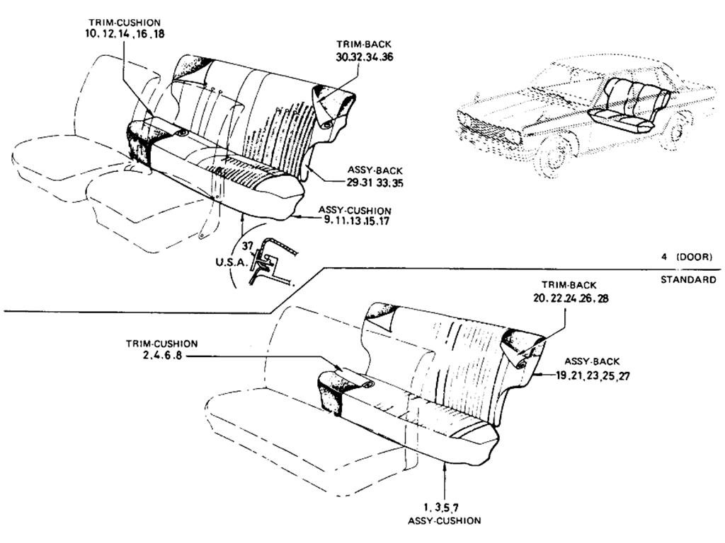 Datsun 510 Rear Seat (Sedan) (To Sep.-'68)