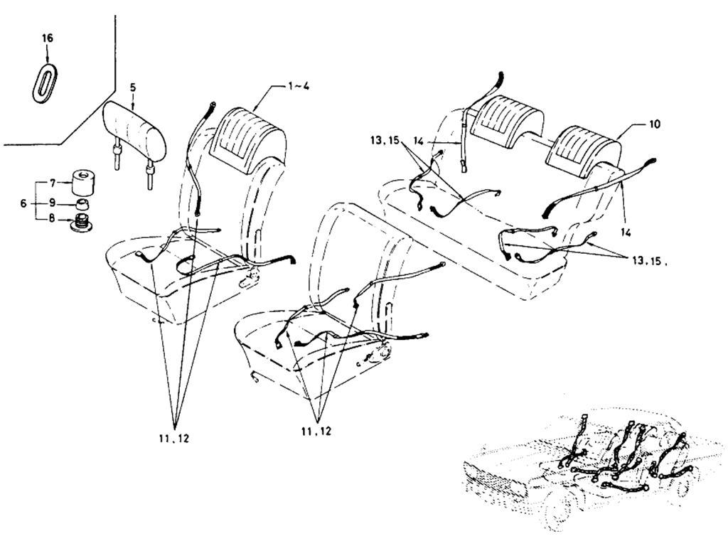 Datsun 510 Safety Belt & Head Rest (Sedan)