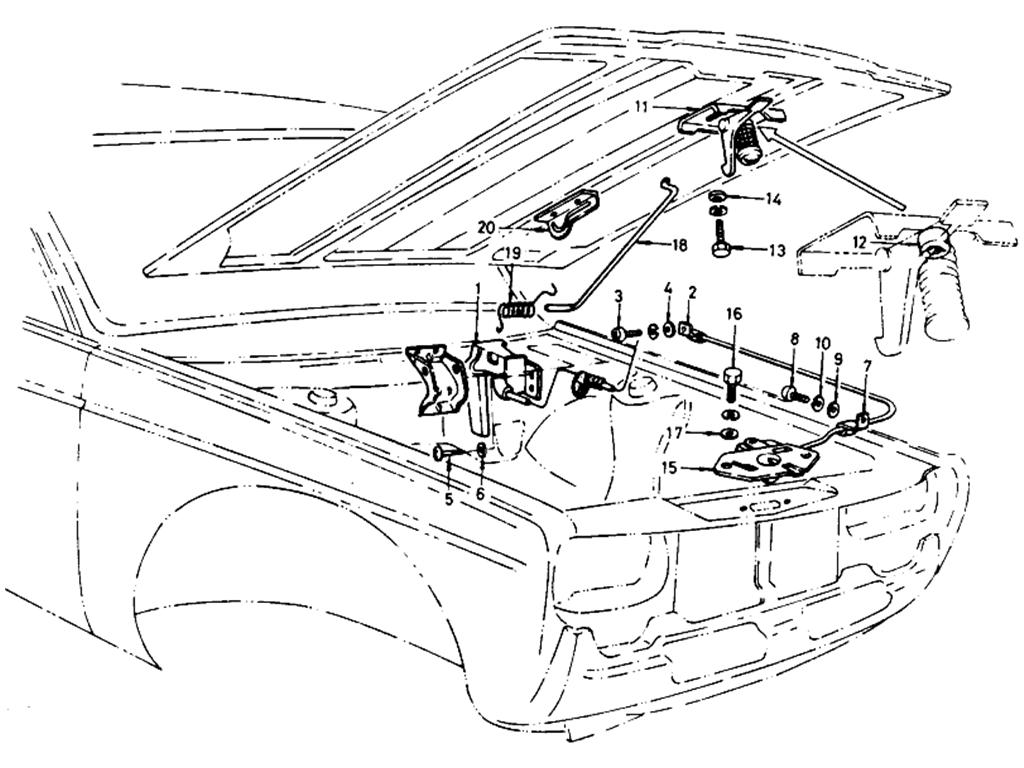 Datsun 510 Hood Lock Control (Wagon)