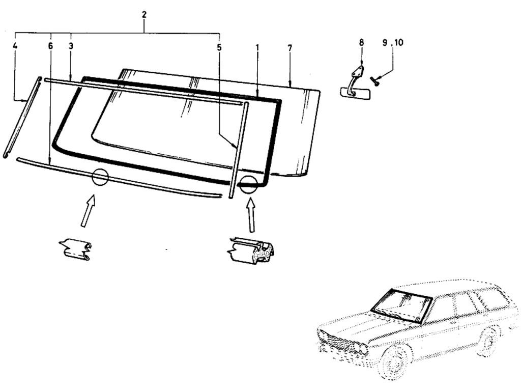 Datsun 510 Windshield Glass (Wagon)