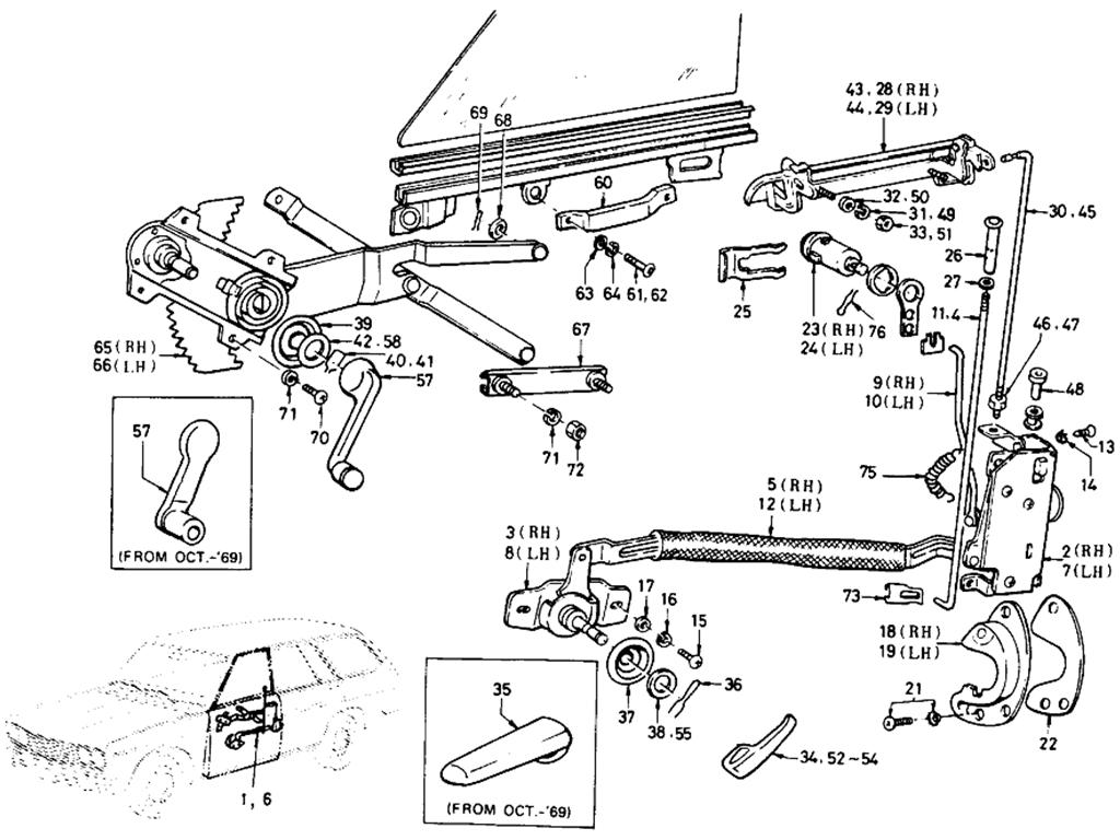 Datsun 510 Front Door Lock & Regulator (Wagon)