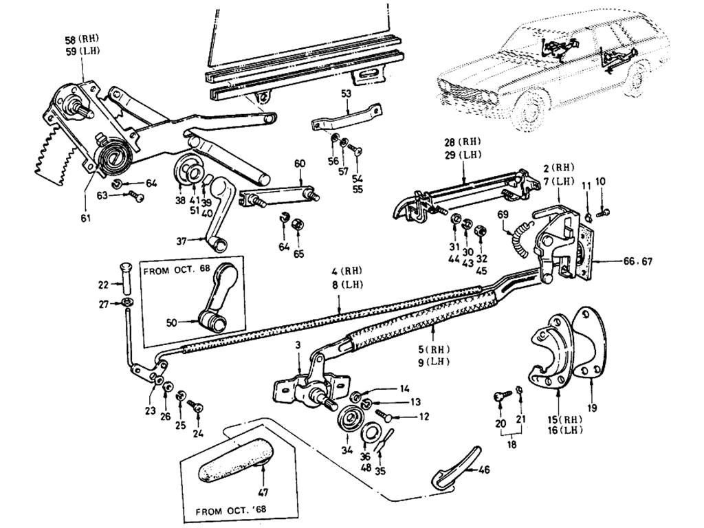 Datsun 510 Rear Door Lock & Regulator (Wagon)