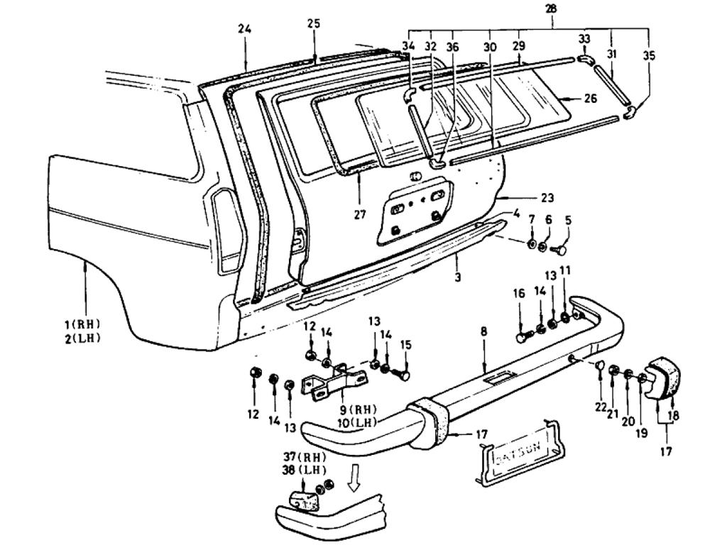 Datsun 510 Tail Gate & Bumper (Wagon)