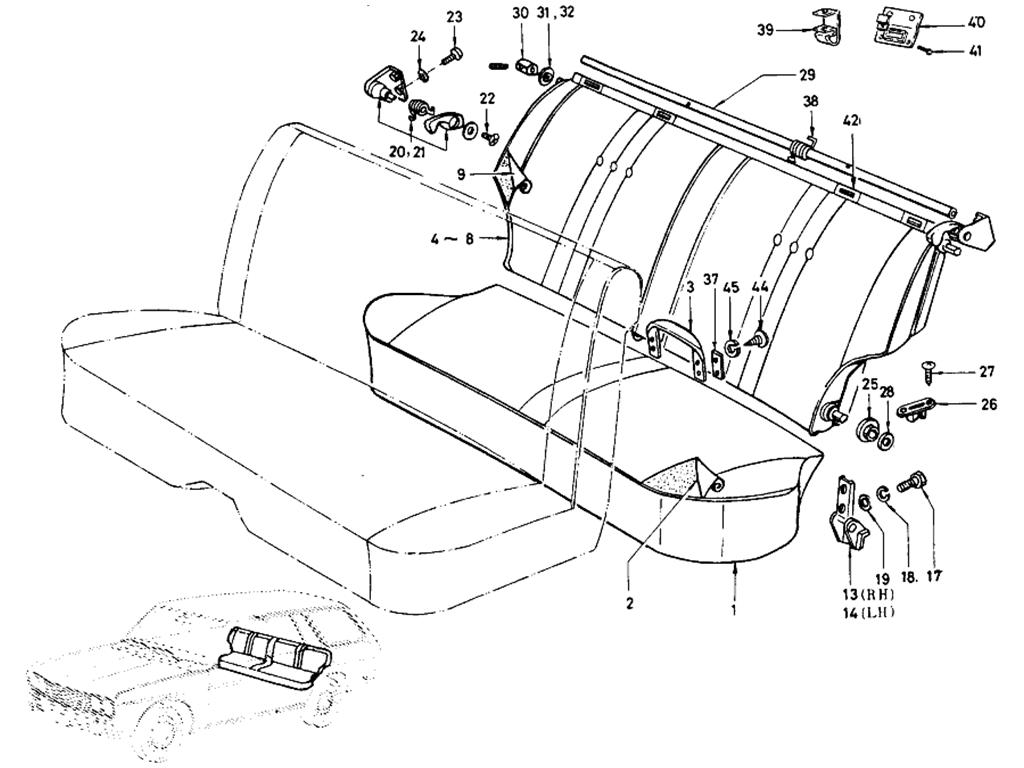 Datsun 510 Rear Seat (Wagon)