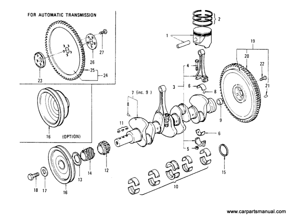 Datsun Bluebird (610) Piston & Crankshaft Parts (L20B)