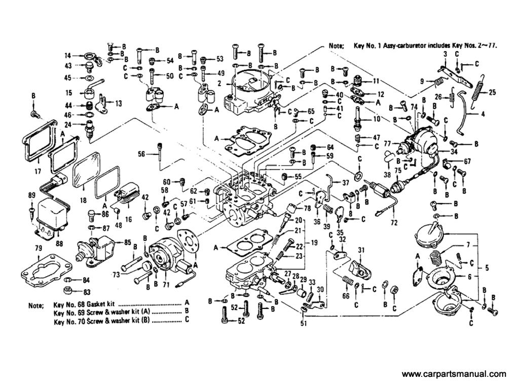 Datsun Bluebird (610) Carburetor (L20B) (From Aug-'73 To