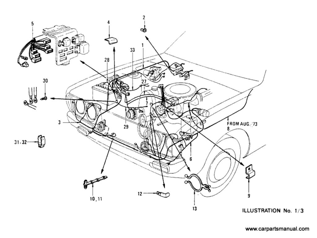 Datsun Bluebird (610) Wiring (To Aug-'74)