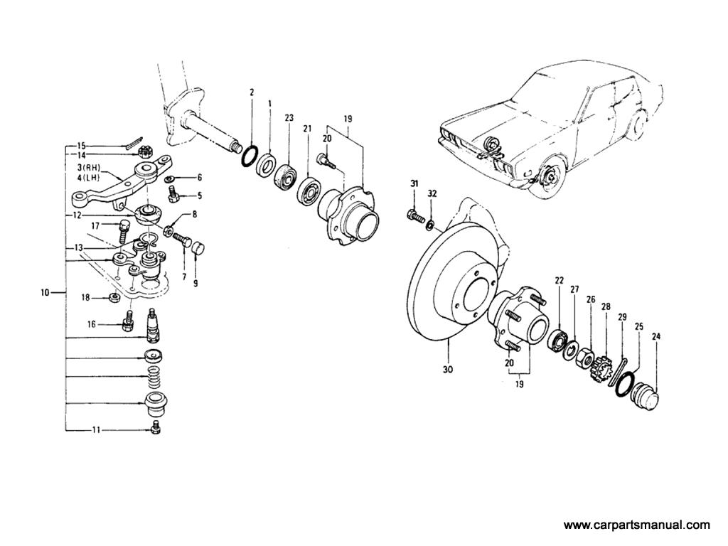 Datsun Bluebird (610) Axle