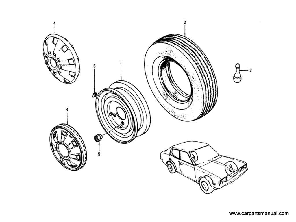 Datsun Bluebird (610) Road Wheel & Tire