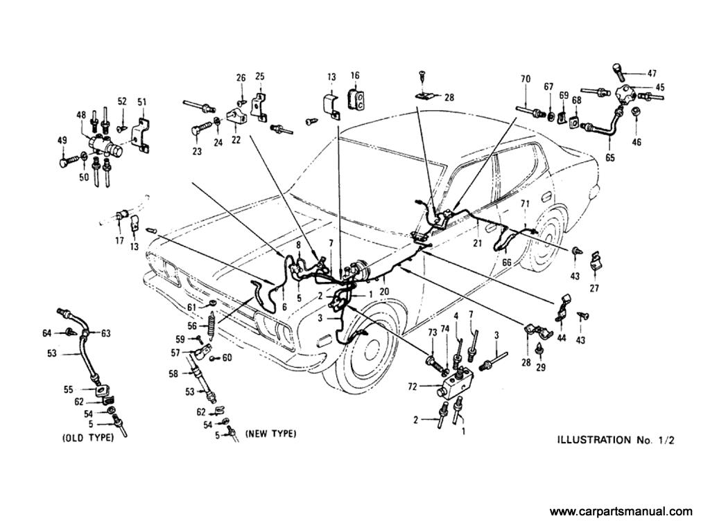 Datsun Bluebird (610) Brake Piping (To Aug-'74)