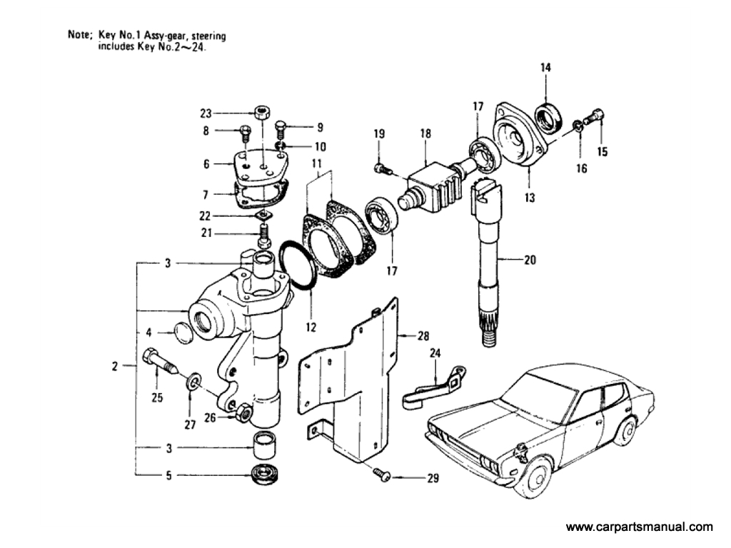 Datsun Bluebird (610) Steering