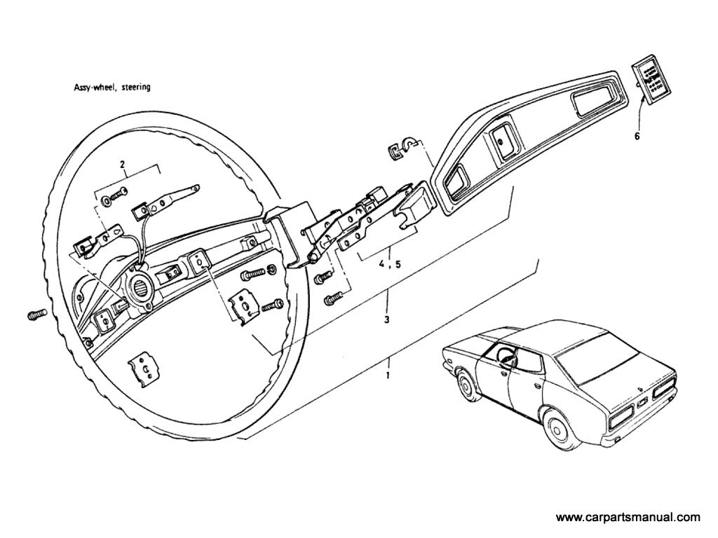 Datsun Bluebird (610) Steering Wheel (Sedan)