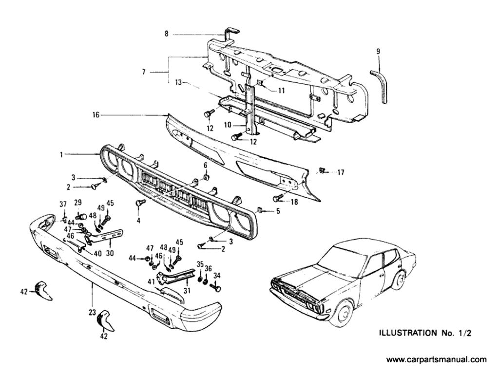Datsun Bluebird (610) Radiator Grille & Front Bumper (Sedan)