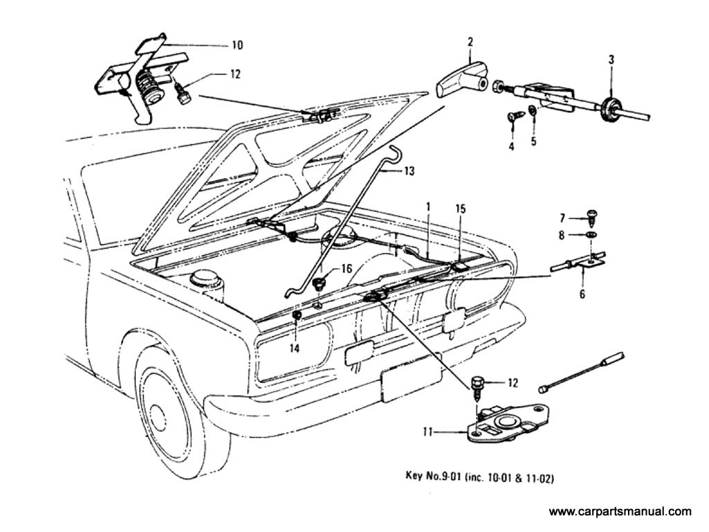 Datsun Bluebird (610) Hood Lock Control (Sedan)