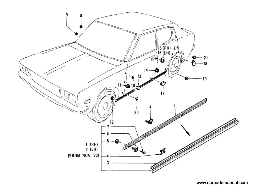 Datsun Bluebird (610) Body Side Fitting (Sedan)