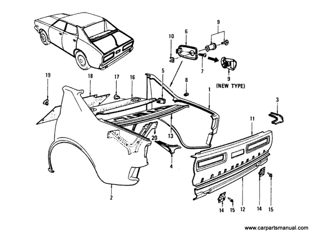 Datsun Bluebird (610) Rear Fender,Rear Panel & Fitting (Sedan)