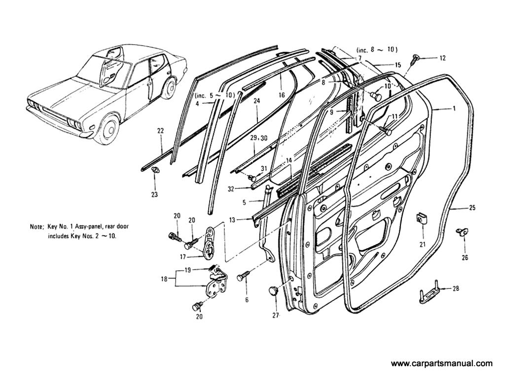 Datsun Bluebird (610) Rear Door Panel (Sedan)