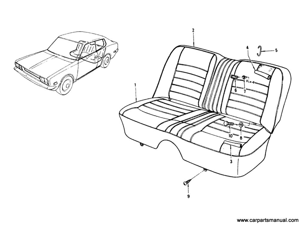 Datsun Bluebird (610) Rear Seat (Sedan)