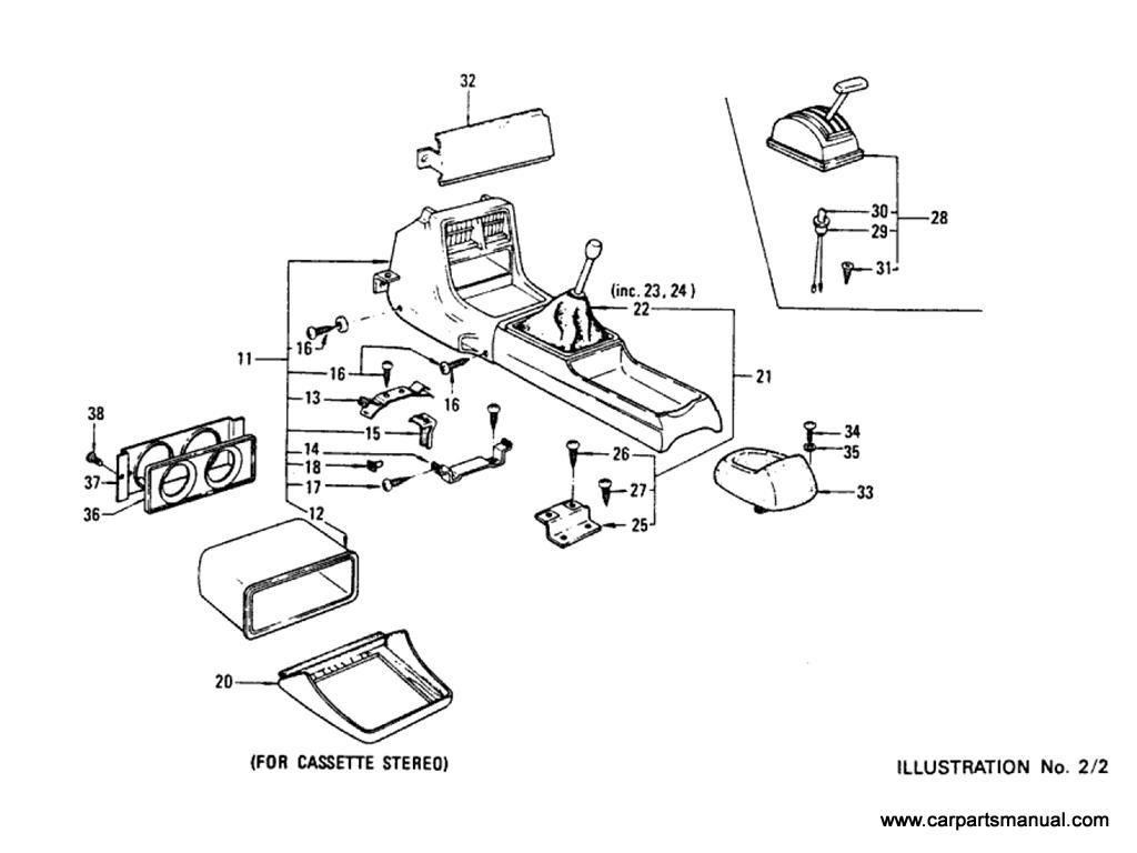 Datsun Bluebird (610) Console Box (Sedan)