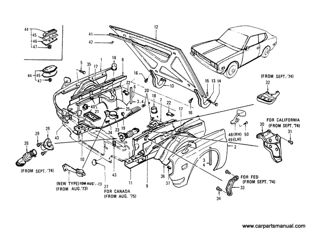 Datsun Bluebird (610) Front Fender,Hood Panel & Fitting