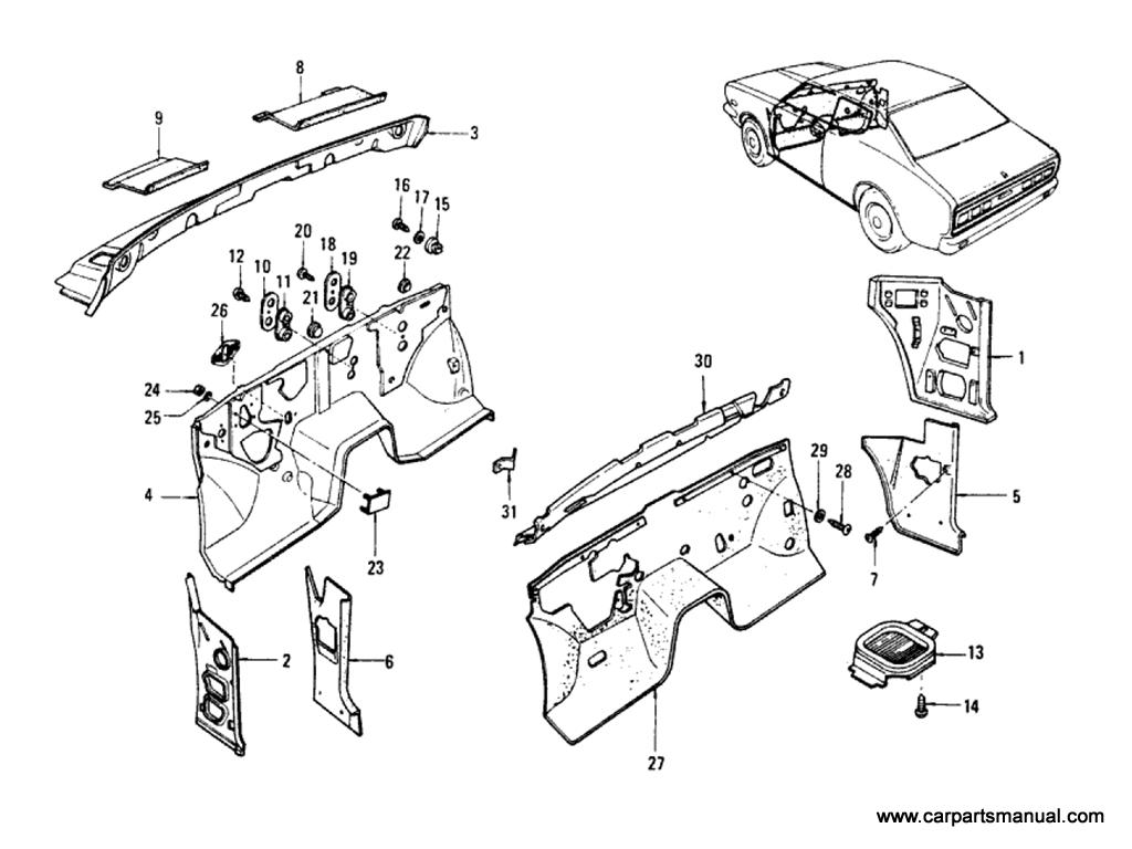Datsun Bluebird (610) Dash Panel Parts & Trimming (Hardtop)