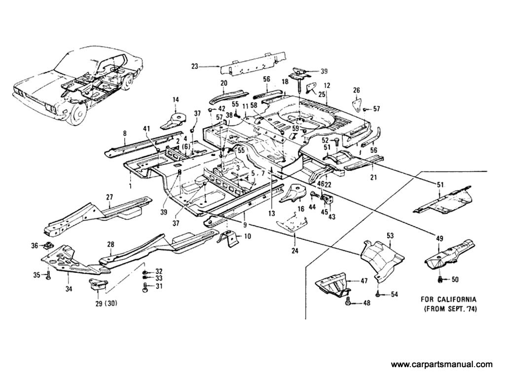 Datsun Bluebird (610) Floor Panel & Fitting (Hardtop)