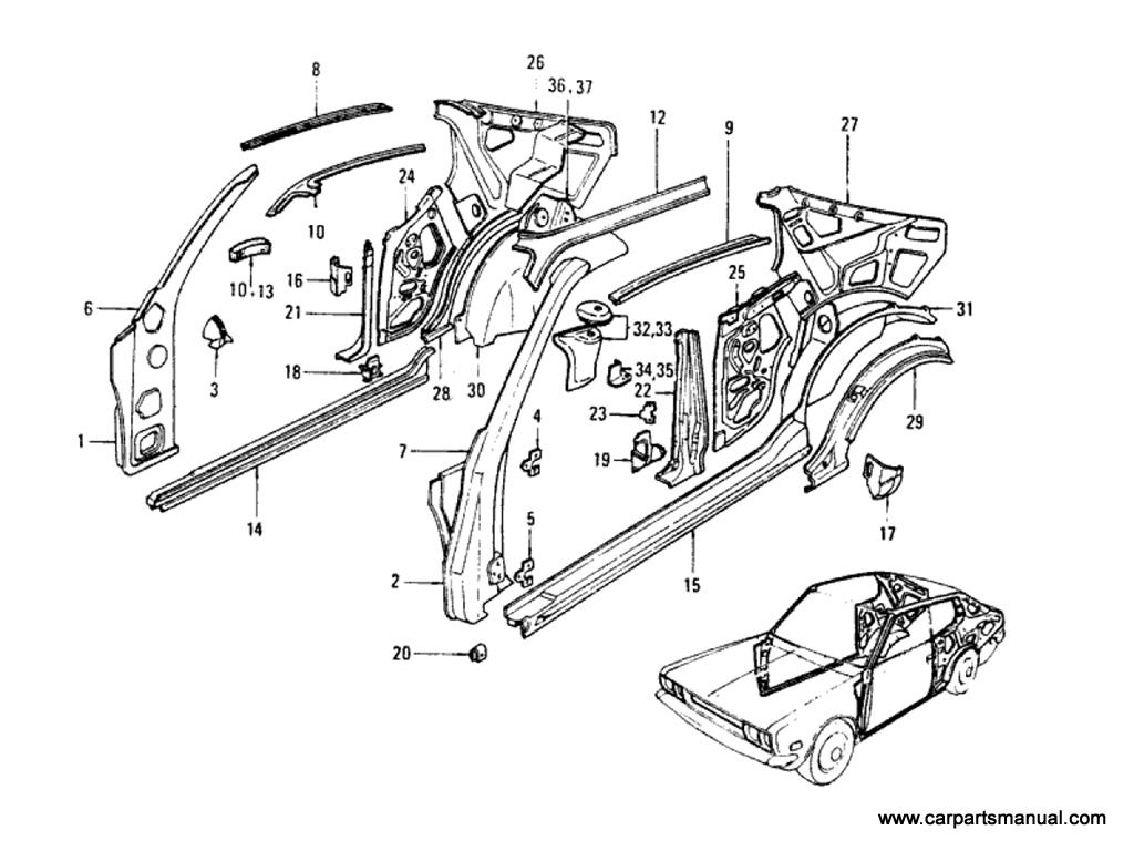 Datsun Bluebird (610) Body Side Panel (Hardtop)
