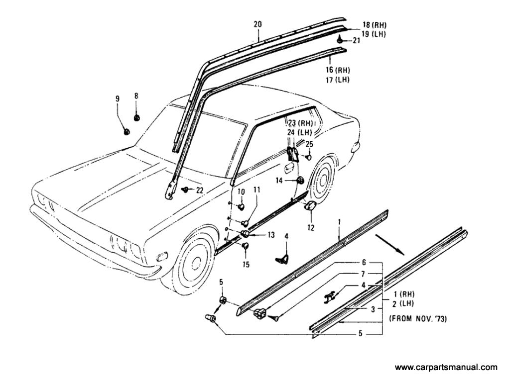 Datsun Bluebird (610) Body Side Fitting (Hardtop)
