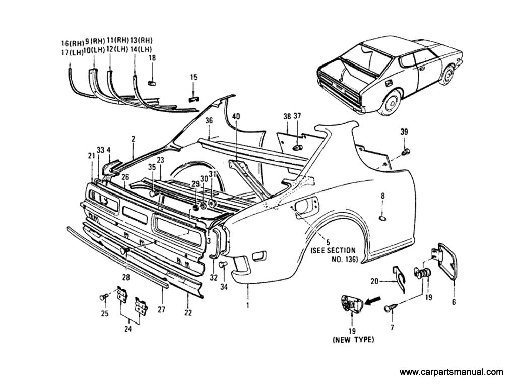 Datsun Bluebird (610) Rear Fender,Rear Panel & Fitting
