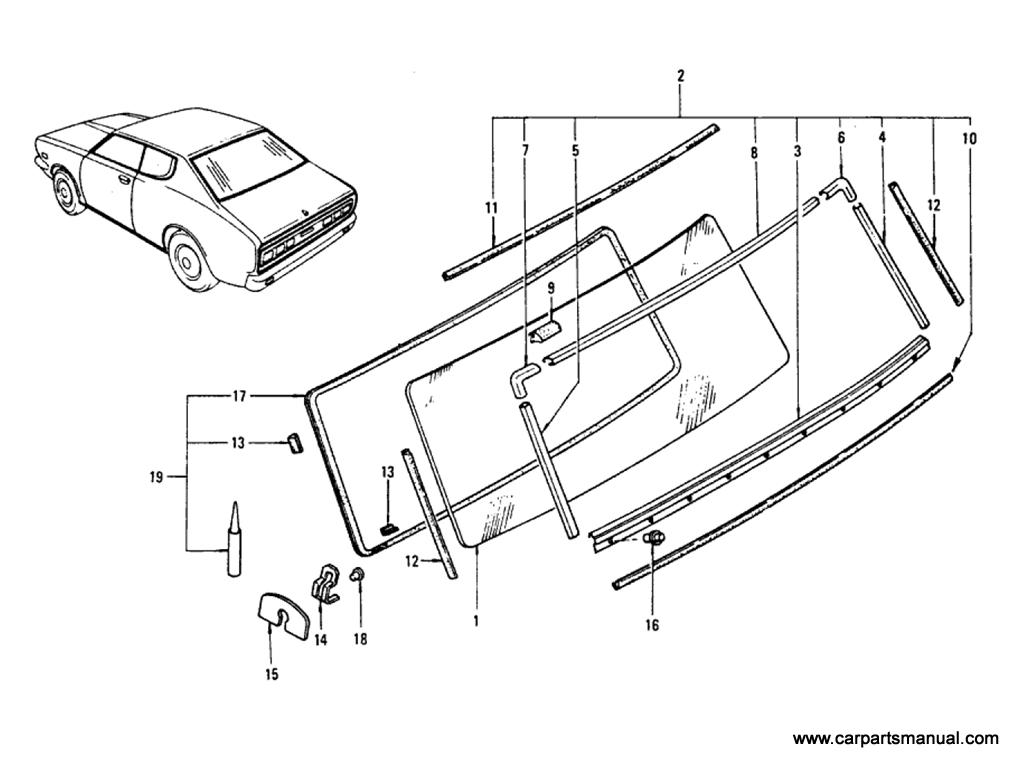 Datsun Bluebird (610) Rear Window Glass & Moulding (Hardtop)
