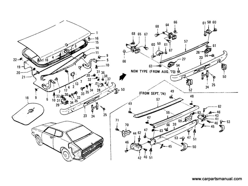 Datsun Bluebird (610) Trunk Lid & Rear Bumper (Hardtop)