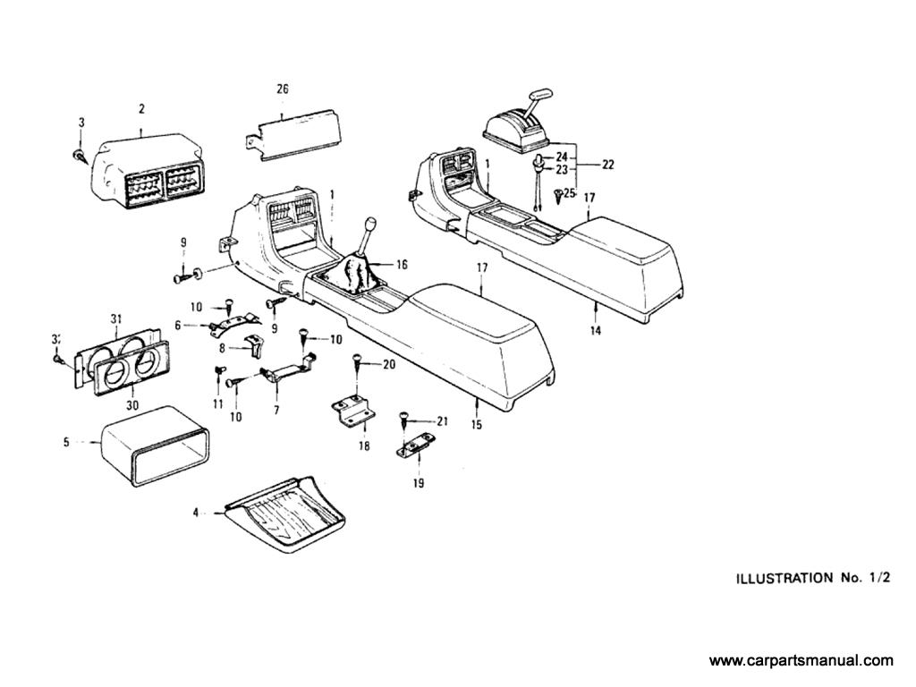 Datsun Bluebird (610) Console Box (Hardtop)