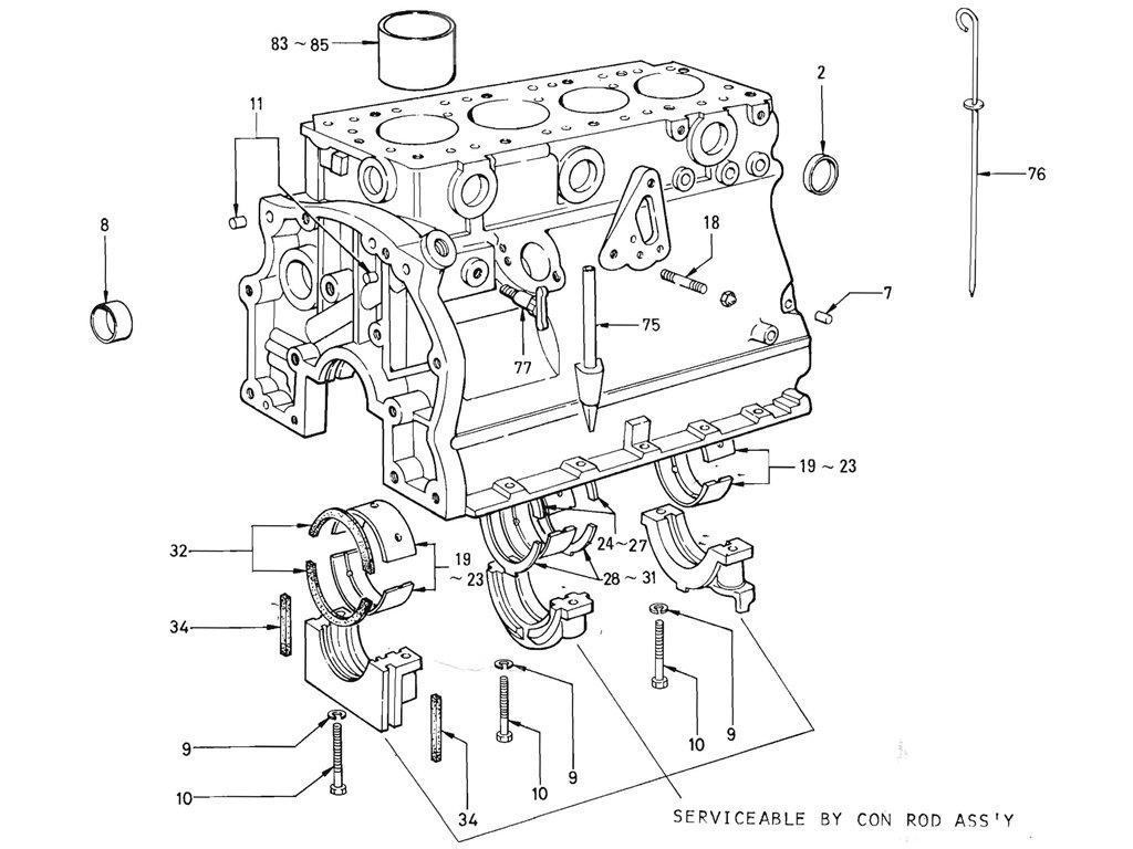 Datsun Pickup (520/521) Cylinder Block (J13)