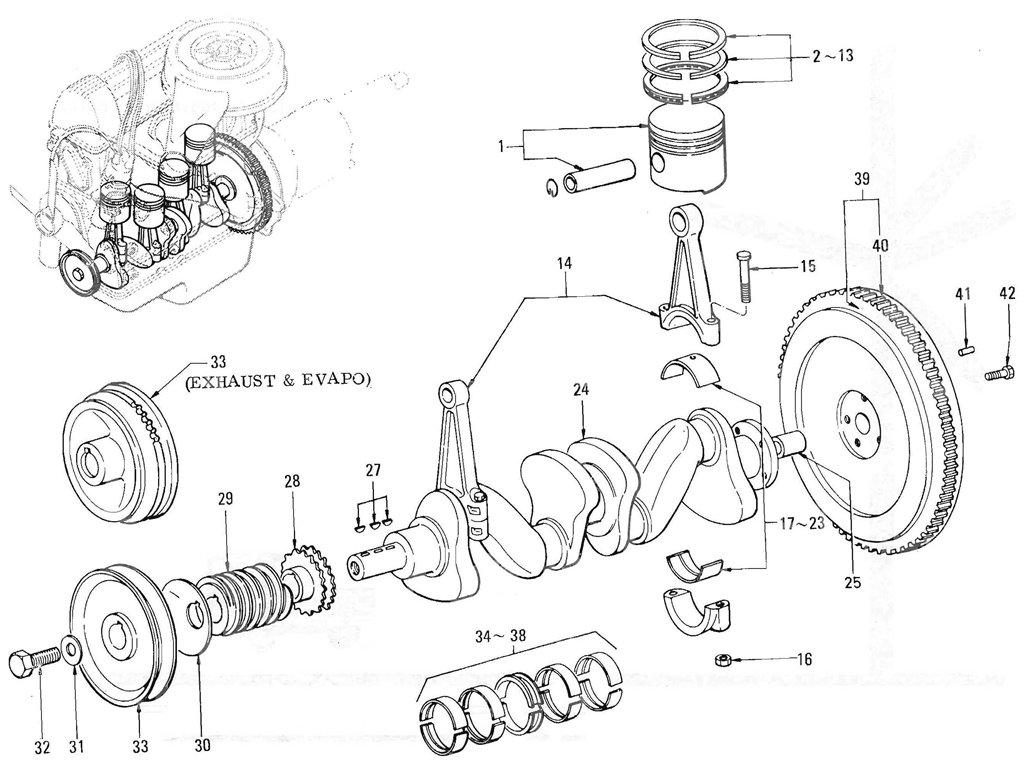 Datsun Pickup (520/521) Piston & Crankshaft (L16)