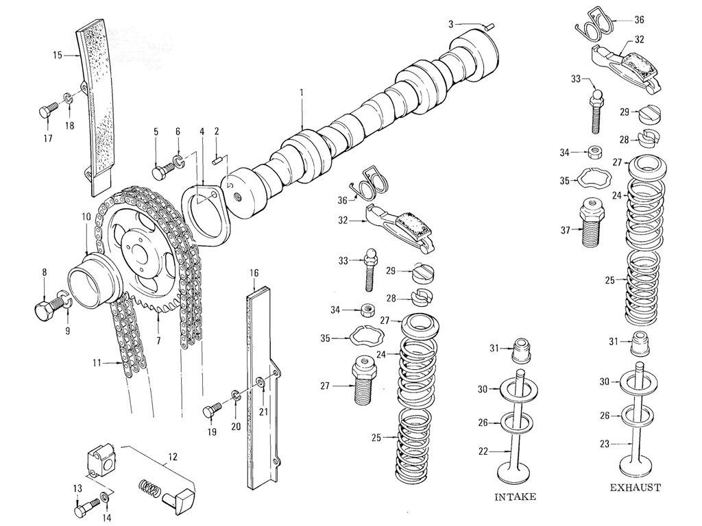 Datsun Pickup (520/521) Camshaft & Valve Mechanism (L16)