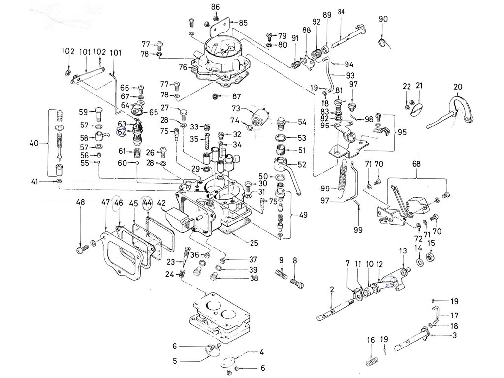 Datsun Pickup (520/521) Carburetor (Hitachi) (Ltu) (From