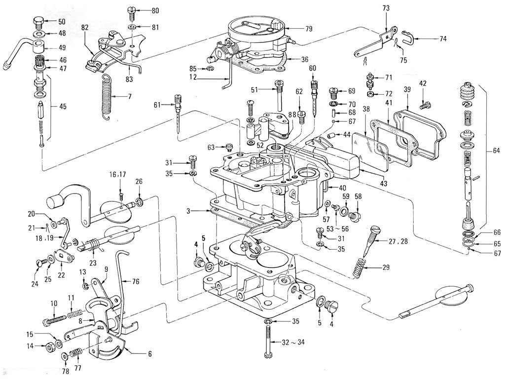 Datsun Pickup (520/521) Carburetor (Nikki) (Exc. Ltu) (J13