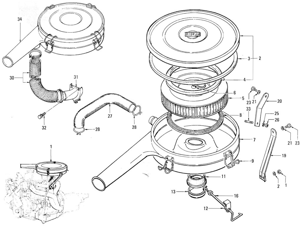 Datsun Pickup (520/521) Air Cleaner (J13)