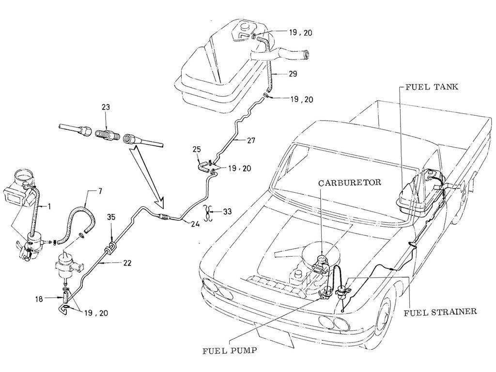 Datsun Pickup (520/521) Fuel Piping