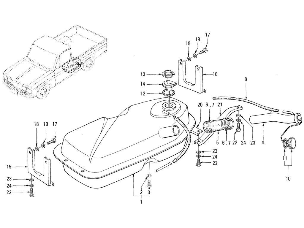 Datsun Pickup (520/521) Fuel Tank (J13 & L16-Exc. Evapo)