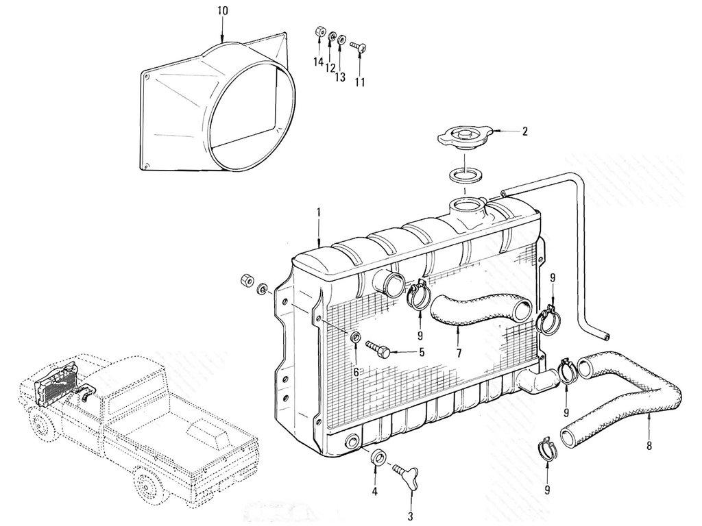 Datsun Pickup (520/521) Radiator (L16)