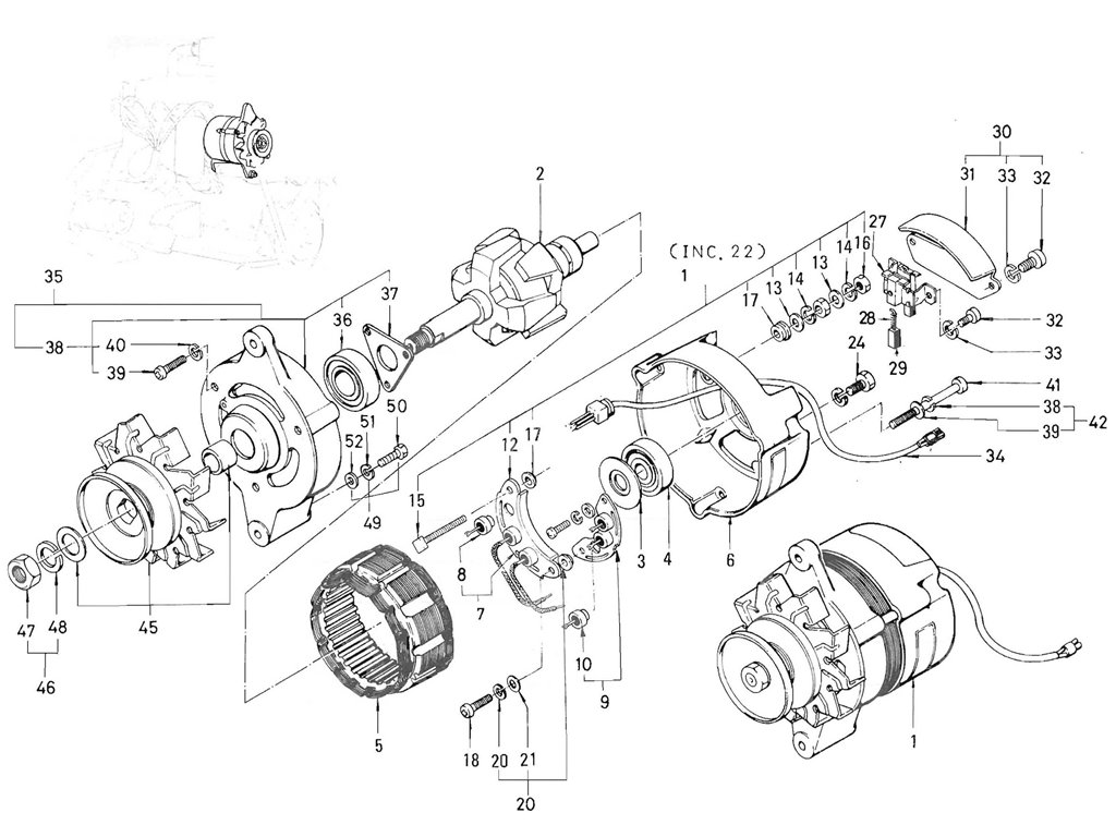 Datsun Pickup (520/521) Alternator (J13 Mitsubishi) (From