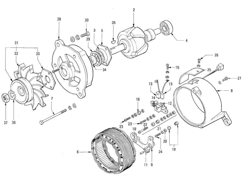 Datsun Pickup (520/521) Alternator (J13 Hitachi) (To Sep.-'66)