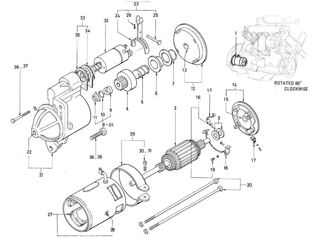 Datsun Pickup (520/521) Starter Motor (J13 Hitachi)