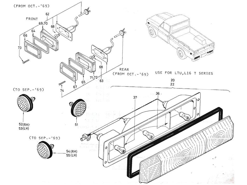 Datsun Pickup (520/521) Side Marker & Rear Combination