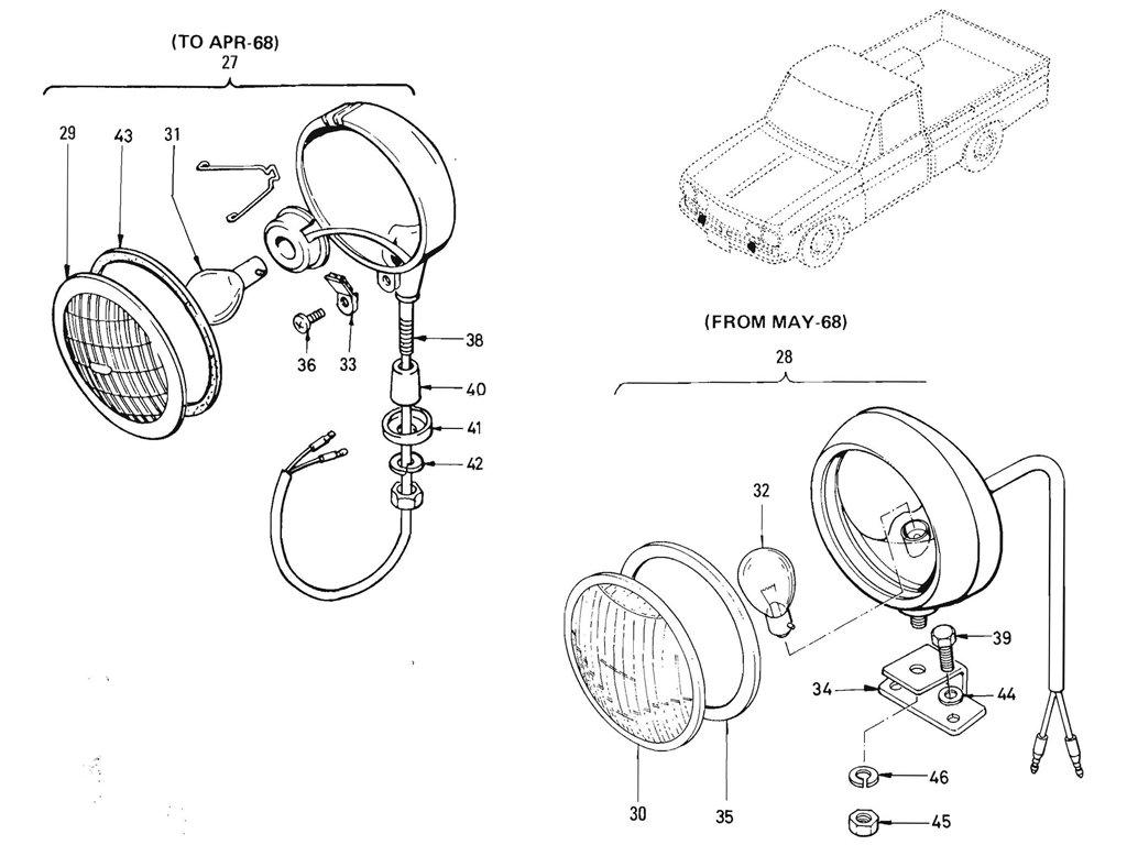 Datsun Pickup (520/521) Reverse, Engine Room & Fog Lamps