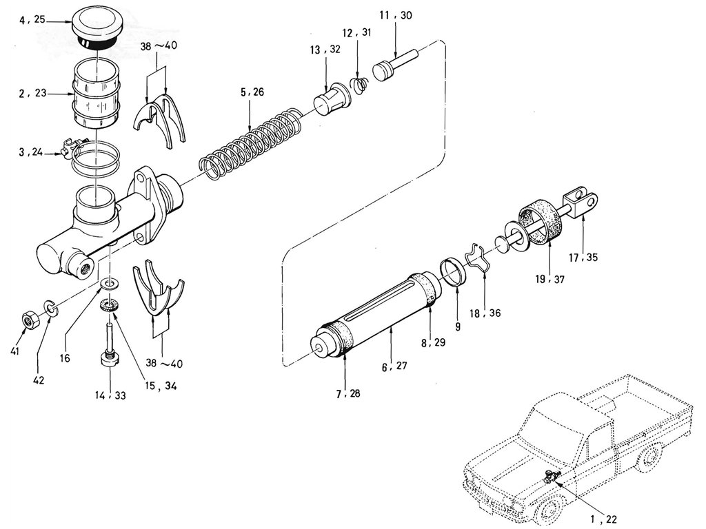 Datsun Pickup (520/521) Clutch Master Cylinder (From Oct.-'66)
