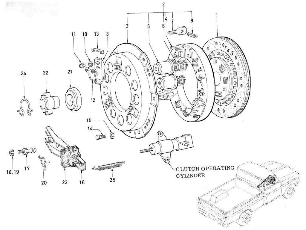 Datsun Pickup (520/521) Clutch (J13 F & S) (From Oct.-'66)