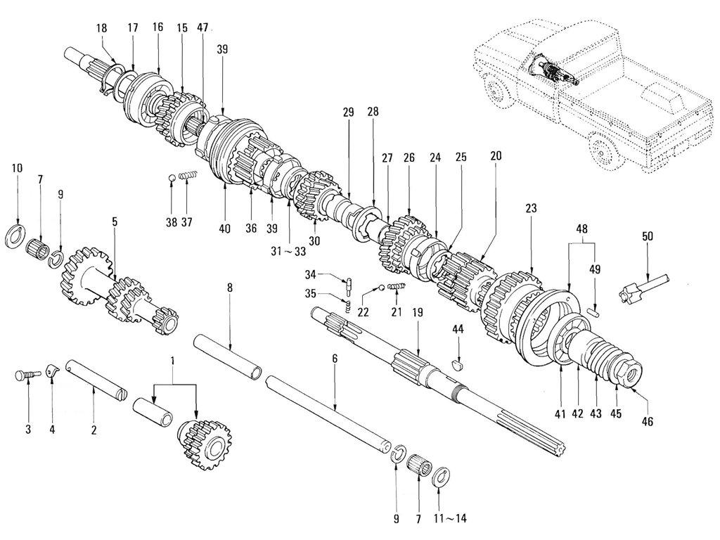 Datsun Pickup (520/521) Transmission Gear Index