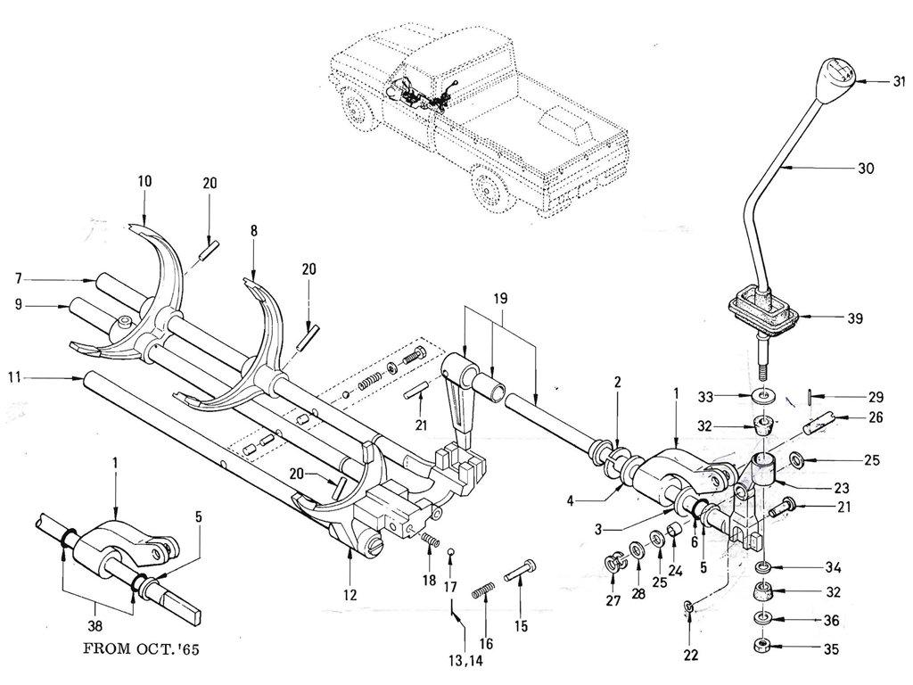 Datsun Pickup (520/521) Transmission Gear Shift (Floor